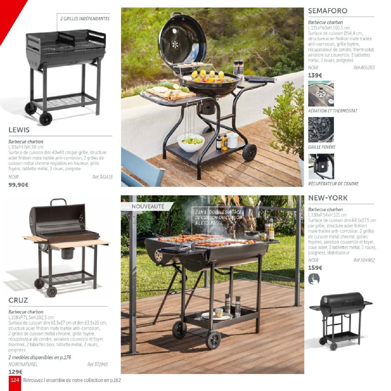barbecue charbon new york noir 2 roues