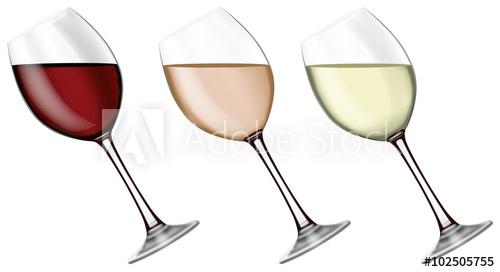 verre à vin rouge et blanc