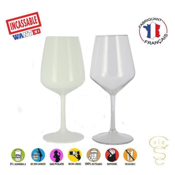 verre a vin incassable blanc