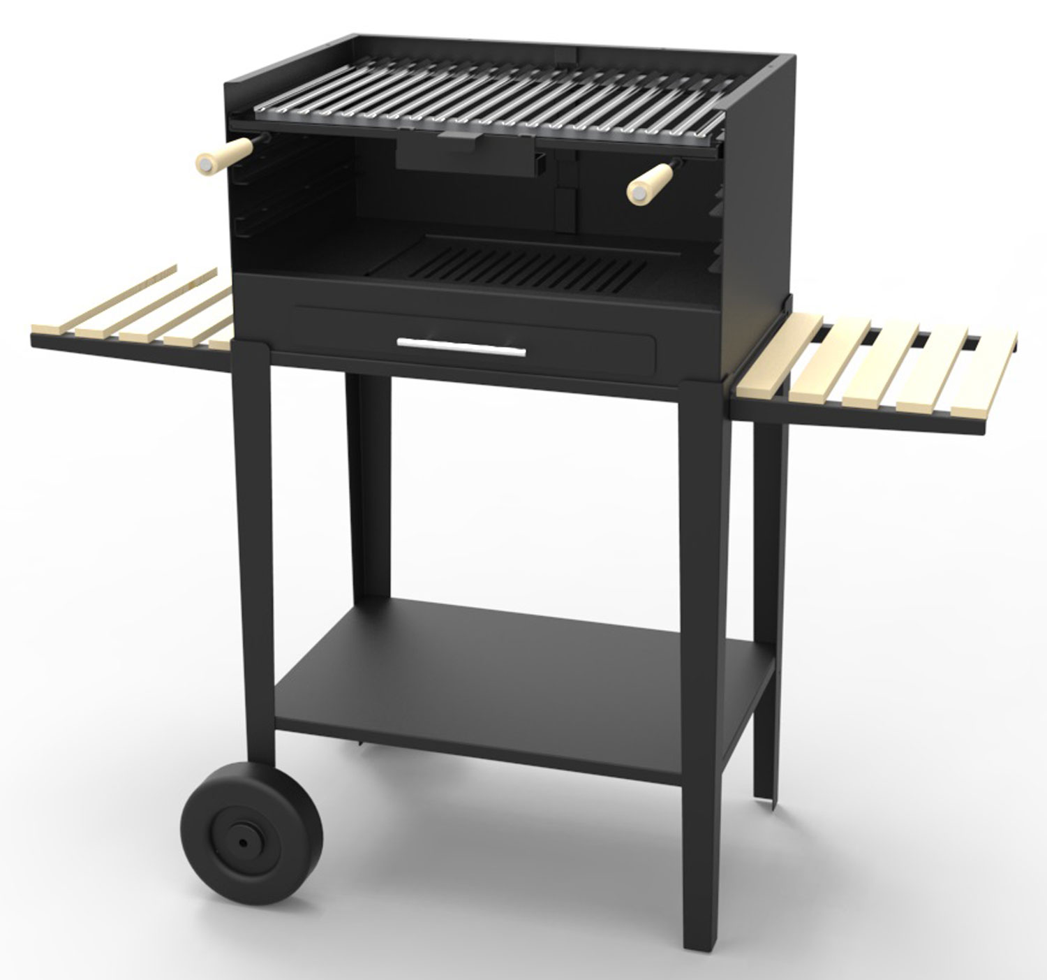 barbecue charbon sur chariot