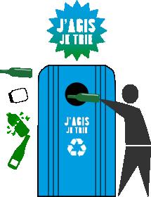 poubelle à verre bordeaux